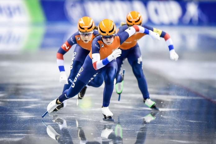 De Nederlandse ploeg op weg naar goud in Nagano.