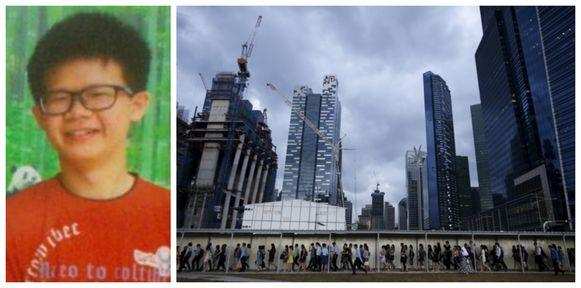 De kameraad van Zhang Daming (18) gebruikte deze foto voor een opsporingsbericht.  Foto rechts: Enkele van de vele wolkenkrabbers in Singapore.