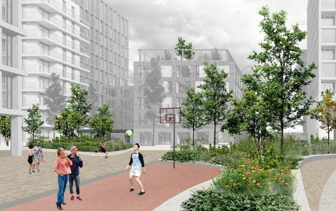 Zo moeten de nieuwe gebouwen nabij het station er straks uitzien.