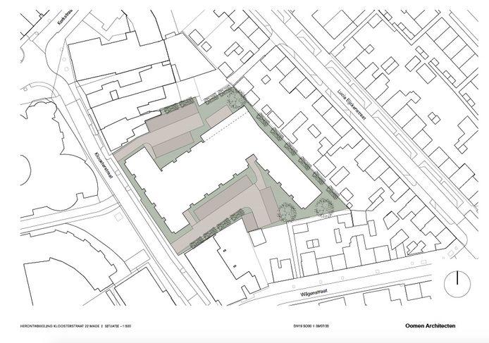 De massastudie voor de Kloosterstraat; een eerste opzet van het gebouw dat er op z'n vroegst eind 2022 staat.