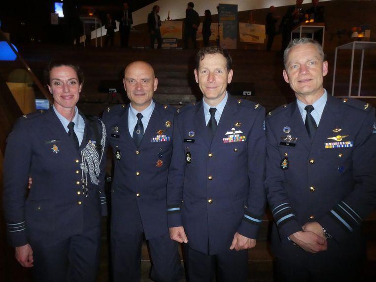 De luchtstrijdkrachten: majoor Linda Lauret, commodore André Steur, commodore Richard Laurijssen en luitenant-generaal Dennis Luyt. Beeld Hans van der Beek