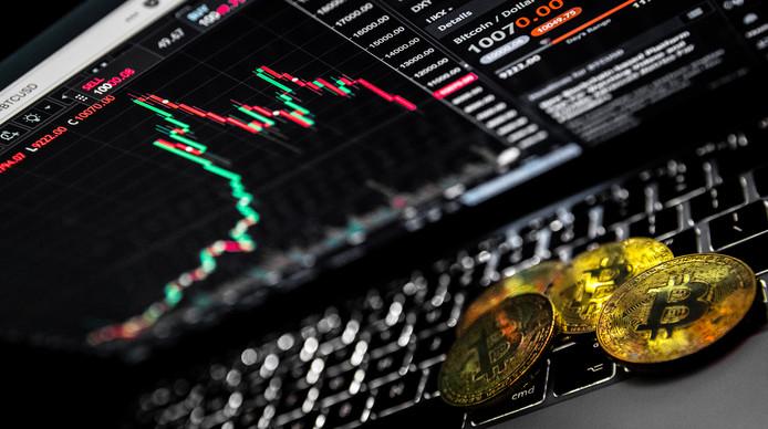 De cryptovaluta Bitcoin. De koers van de digitale munt zakt steeds verder weg