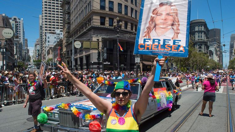 Een demonstratie voor de vrijlating van Chelsea Manning, juni 2016 in San Francisco. Beeld afp