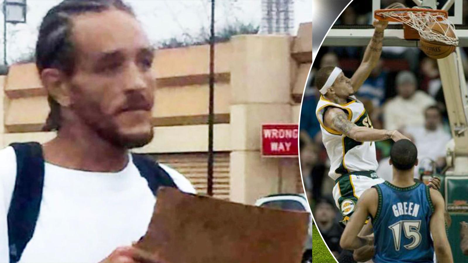 Delonte West bedelend in de straten van Dallas. Rechts: Dunkend voor de Boston Celtics in 2009.