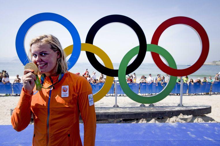 Voor Sharon van Rouwendaal werkte de solo-training wel, met als bekroning de gouden medaille voor de 10 km openwaterzwemmen tijdens de Olympische Spelen van Rio.  Beeld ANP