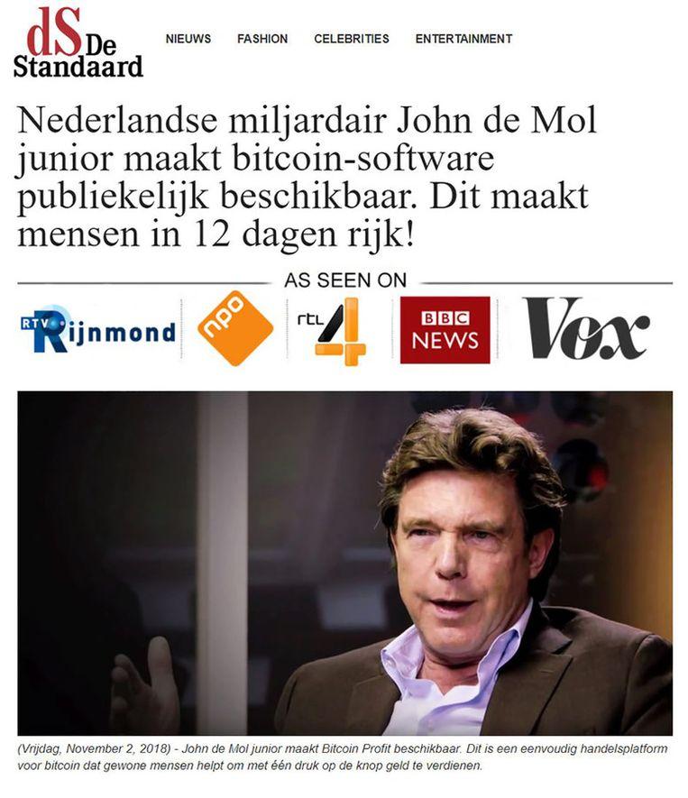 Een voorbeeld van een nep-advertentie waarover John de Mol de zaak aanspande. Beeld RV