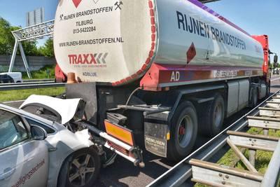 Lange file op A58 bij Ulvenhout na ongeluk met vrachtwagen