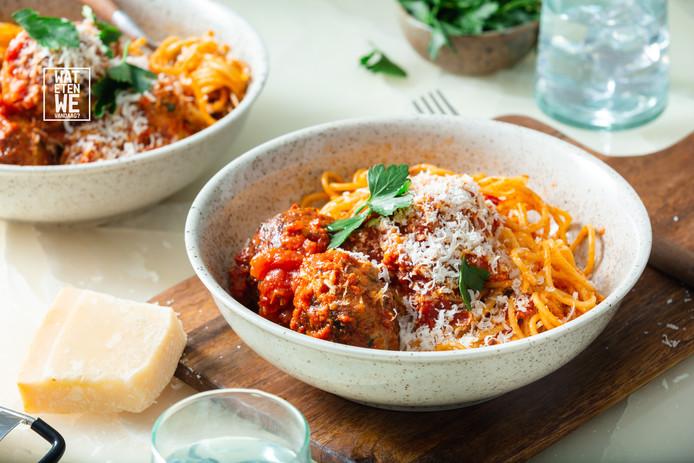 Spaghetti in tomatensaus met gehaktballen