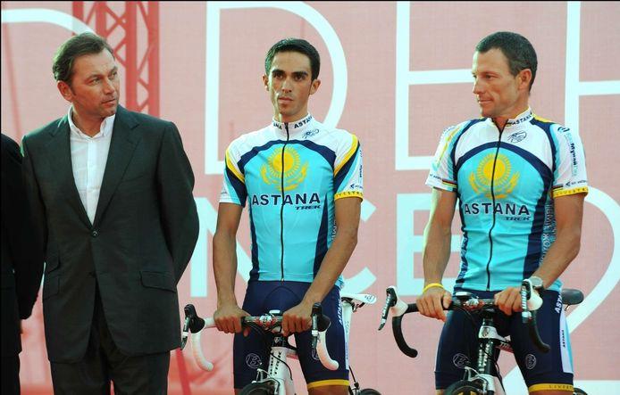 Ploegleider Johan Bruyneel, Alberto Contador en Lance Armstrong.