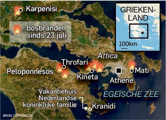 De locaties van de bosbranden in Griekenland