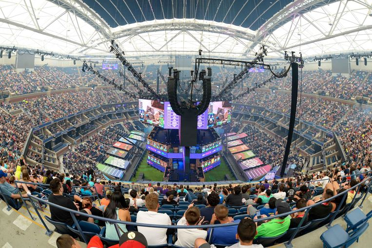 Het WK Fortnite in het Athur Ashe stadion in New York. Beeld USA TODAY Sports