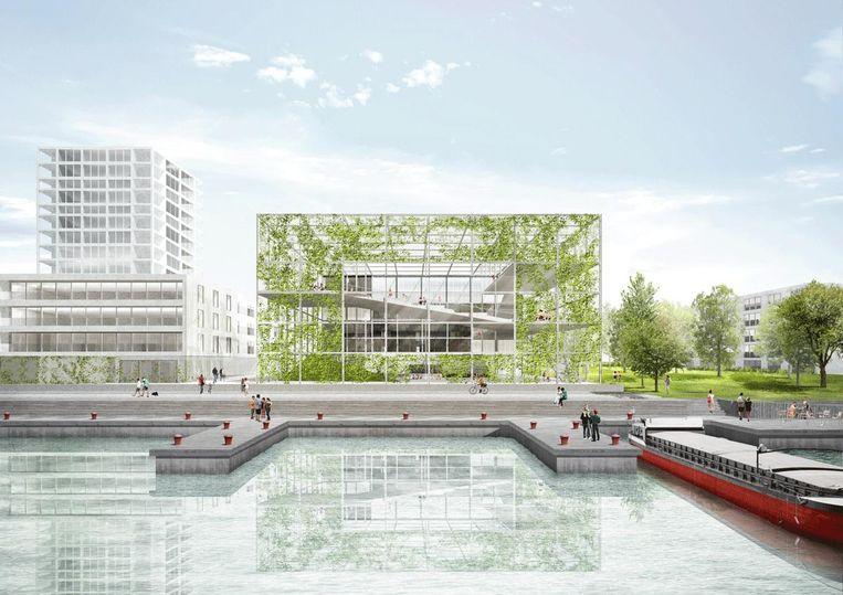 Impressie van hoe de nieuwe buurtsporthal aan de Oude Dokken er zal uitzien.