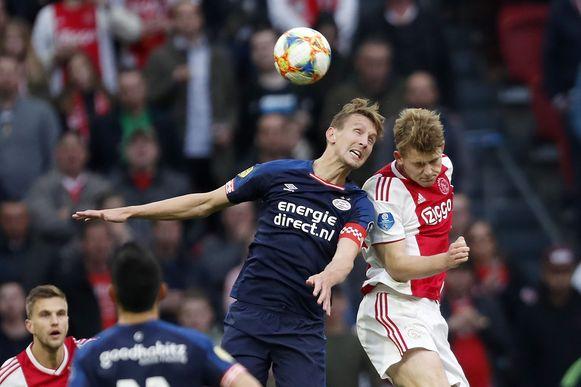 Luuk de Jong (PSV) en Matthijs de Ligt (Ajax).