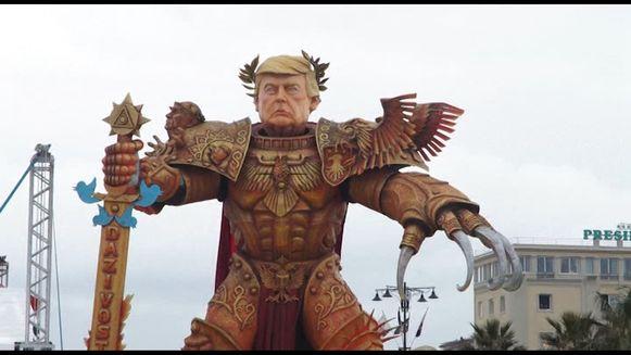Trump werd afgebeeld als een soort heerser met een zwaard vol Twitter-symbolen.