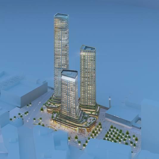 Illustratie van de drie torens van District E, het plan voor het Stationsplein in Eindhoven.