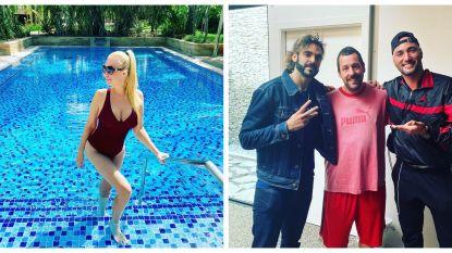 SHOWBITS. In het zwembad met Lesley-Ann en Adil & Bilall poseren met een celeb