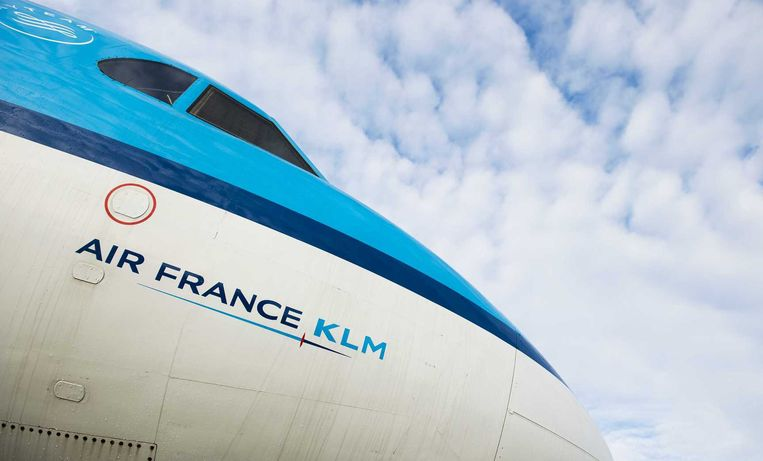 Logo van Air France-KLM op een toestel van KLM op Schiphol. Beeld anp