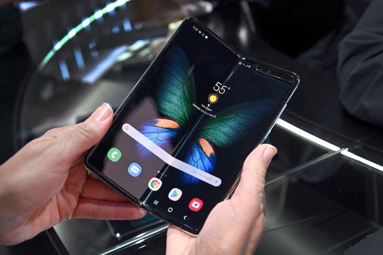 De Galaxy Fold 5G op techbeurs CES in Las Vegas.