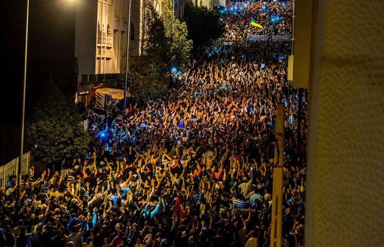 Demonstranten vullen de straten van Al Hoceima Beeld afp
