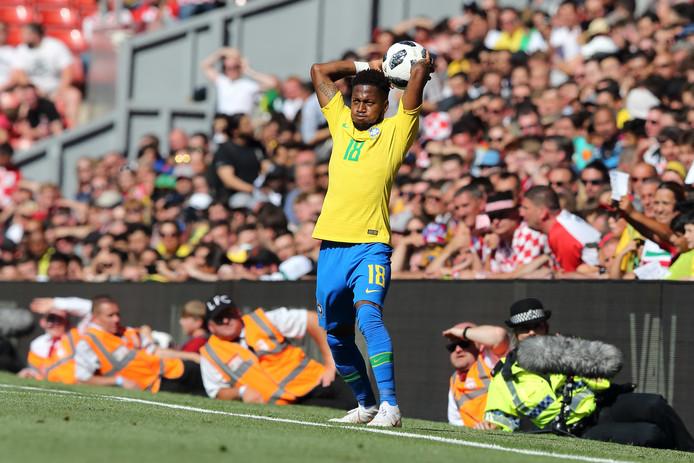Fred in actie voor Brazilië, dat vandaag op Anfield met 2-0 won van Kroatië.