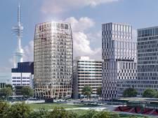 Houten kantoorgebouw van 86 meter gebouwd op de Zuidas