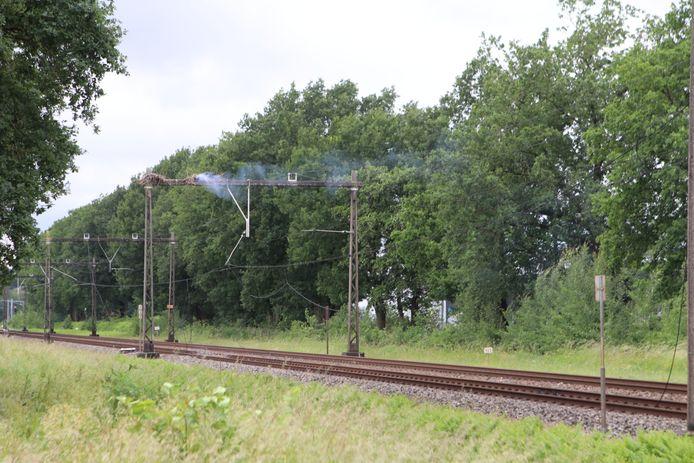 De situatie op het spoor bij Barneveld.