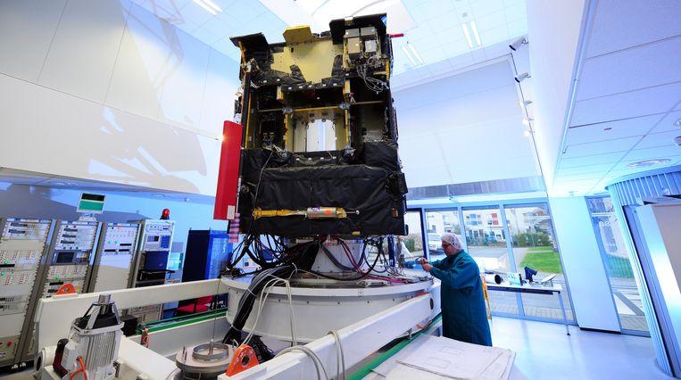 Een kopie van Rosetta in het hoofdkwartier van ESA in Darmstadt Beeld ap