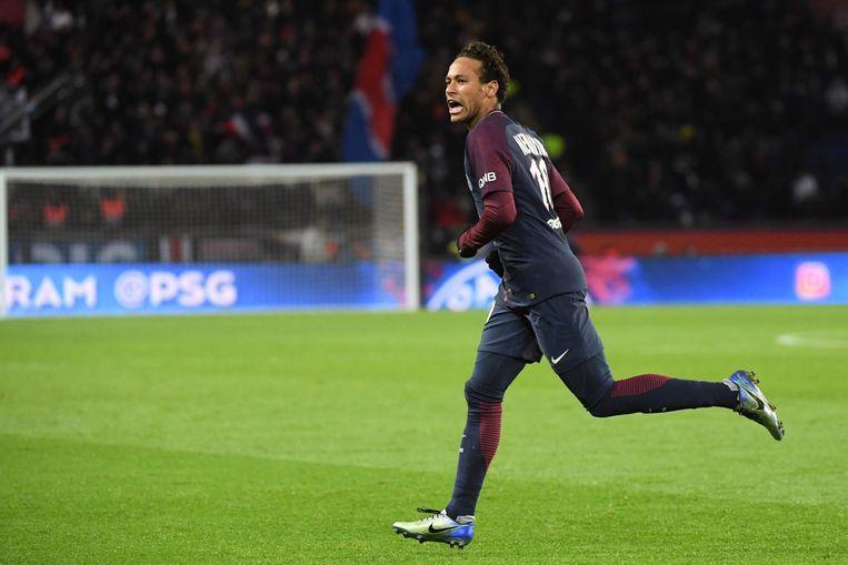 Neymar na het zesde doelpunt van Paris Saint-Germain tegen Dijon. Beeld afp