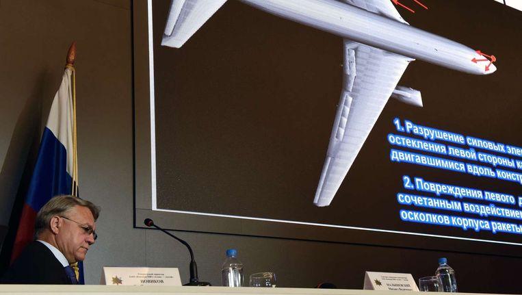 De persconferentie door BUK-raketfabrikant Almaz-Antey in Moskou over de crash met vlucht MH17. Beeld afp