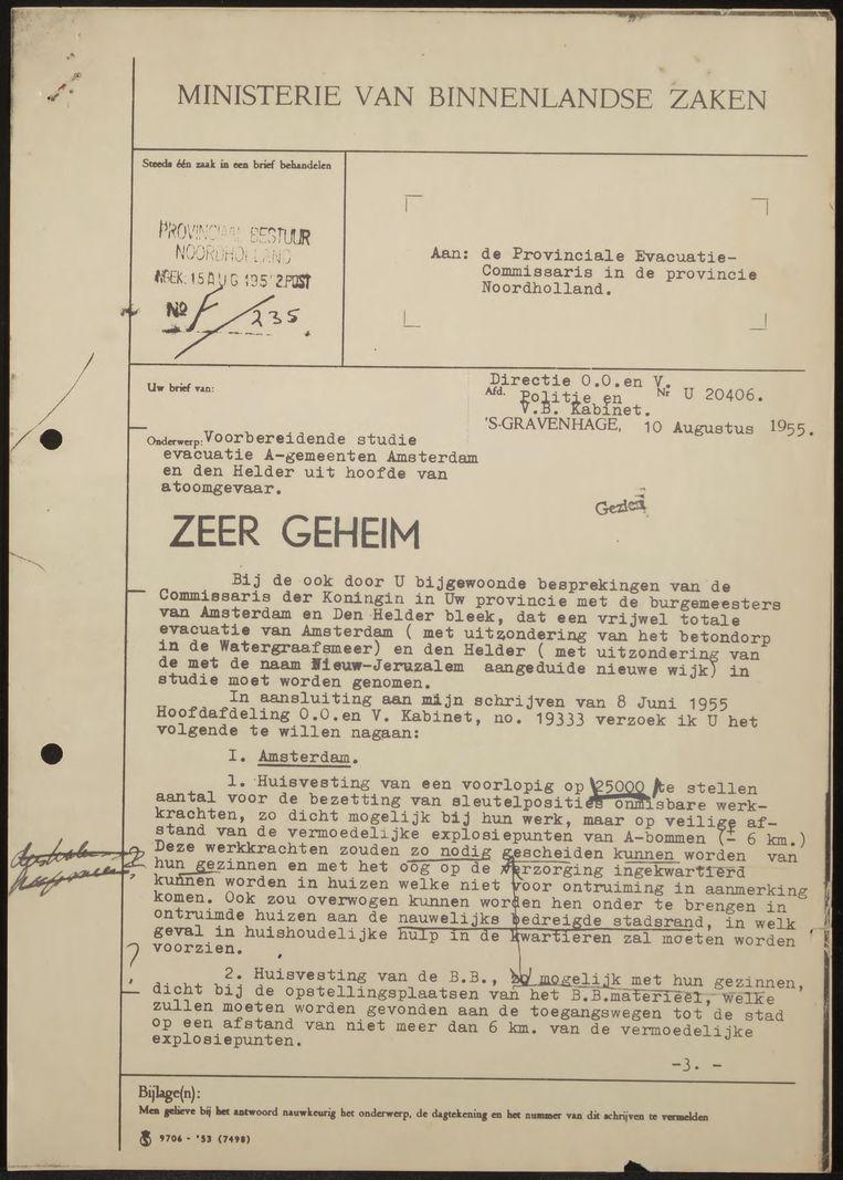 Brief van de minister van Binnenlandse Zaken uit 1955. Beeld Stadsarchief