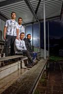 De vier broers Hadouir op de tribune van CHC: Anouar, Mounir, Younes en Fatah (vlnr).