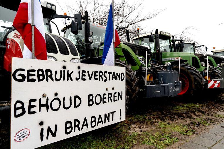 Boeren demonstreren bij het provinciehuis in Den Bosch.  Beeld ANP
