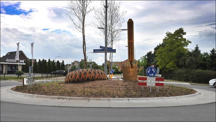 Een rotonde op de Rijksweg in Malden.