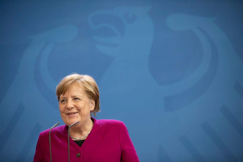 Angela Merkel tijdens een persconferentie op 23 april.