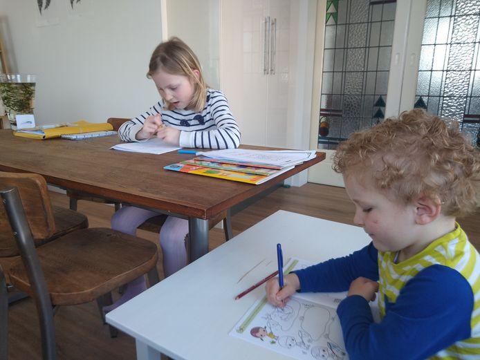 Thuisonderwijs bij familie Heutmekers uit Berkel-Enschot. Kinderen Fabian (r) en Eliza krijgen les.