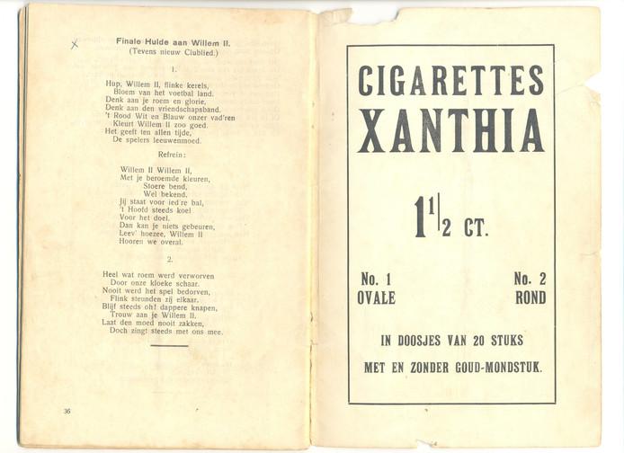 Programmaboekje van de SOS-Revue uit 1928 van Willem II waarin de tekst staat van het clublied.