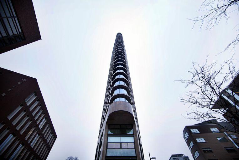 De Vesteda-toren in Eindhoven, die bij de oplevering in 2006 werd uitgeroepen tot 'mooiste toren van Nederland'. Beeld Erik van der Burgt / Verbeeld / Hollandse Hoogte