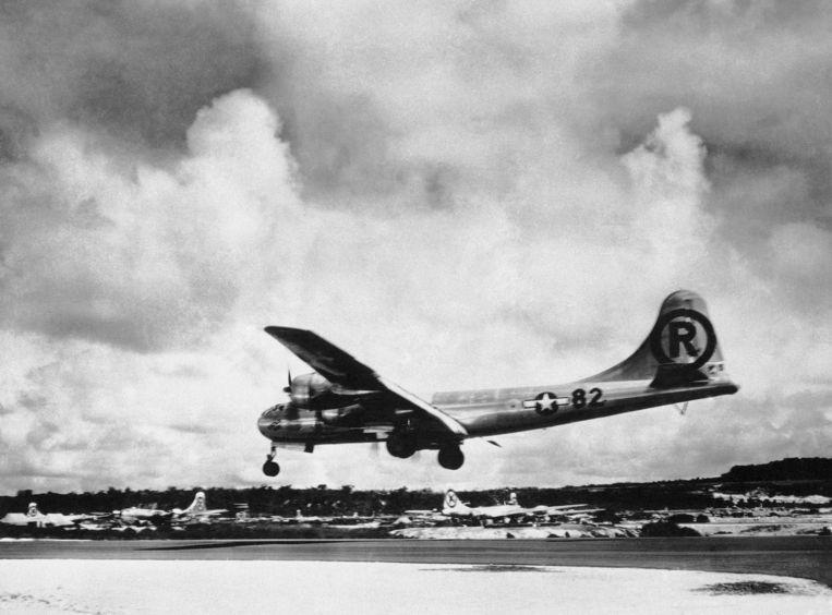 Het vliegtuig Enola Gay waaruit de bom werd gedropt.