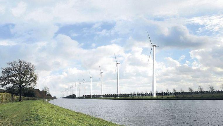 Zo ziet het Amsterdam-Rijnkanaal eruit als de superwindmolens er komen. Beeld Artist Impression Lint Landscape Architecture