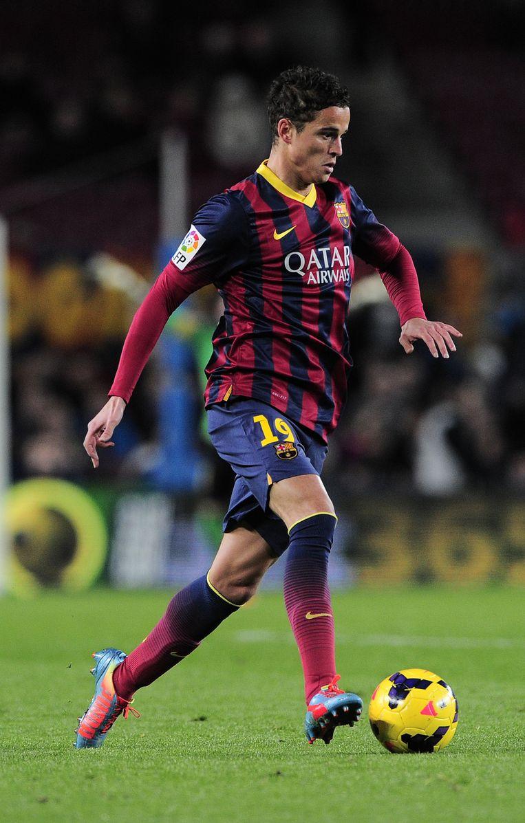 Ibrahim Afellay in actie voor FC Barcelona tijdens een wedstrijd tegen Malaga CF Beeld ANP