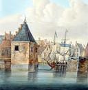 De ingang van de Wolwevershaven circa 1650, op 200 jaar jongere prent van J. Boshamer. Links de Joppentoren, rechts de kanonnen op het Damiatebolwerk.