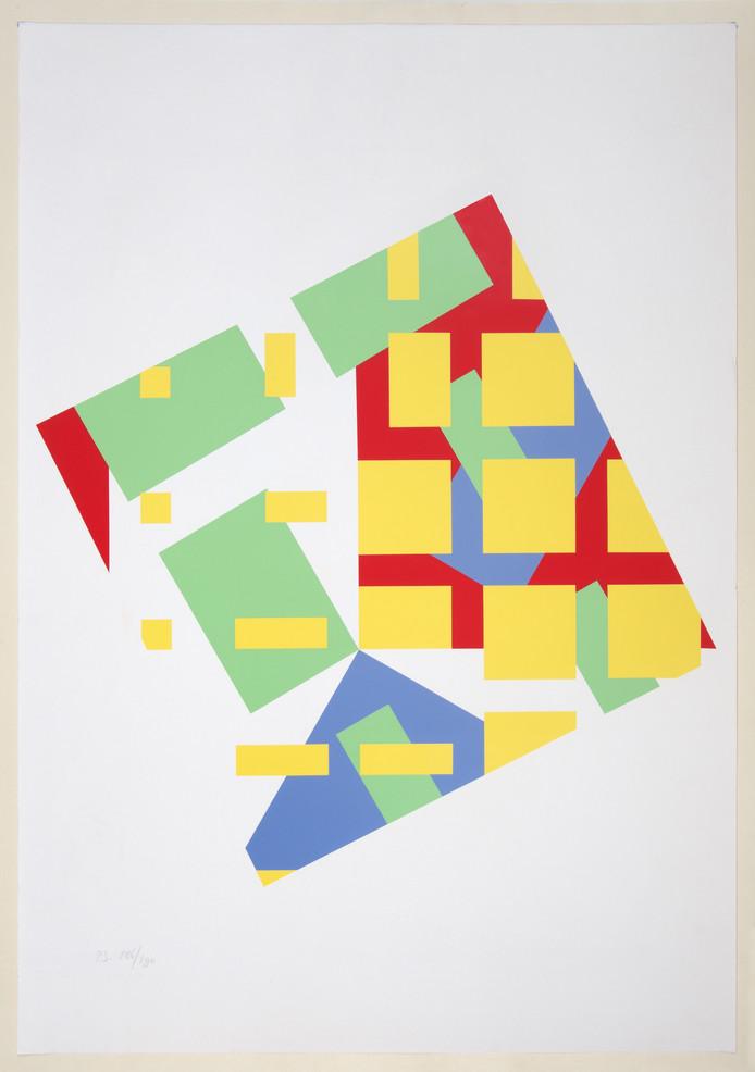 Struycken, Peter. Ruit waarin geometrische figuren (1967).  Collectie Museum Arnhem  foto Marc Pluim
