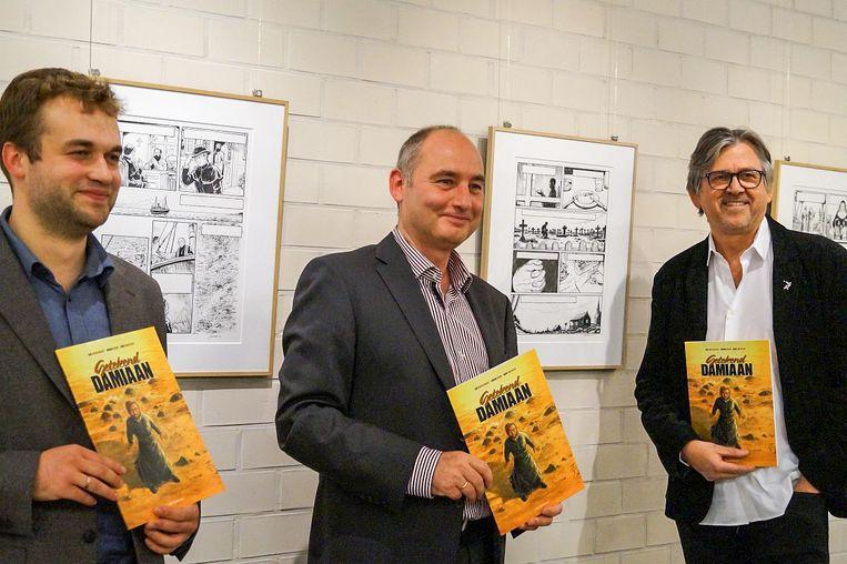 De drie auteurs van 'Damiaan Getekend': Ruben Boon, Bart Maessen en Jan Bosschaert