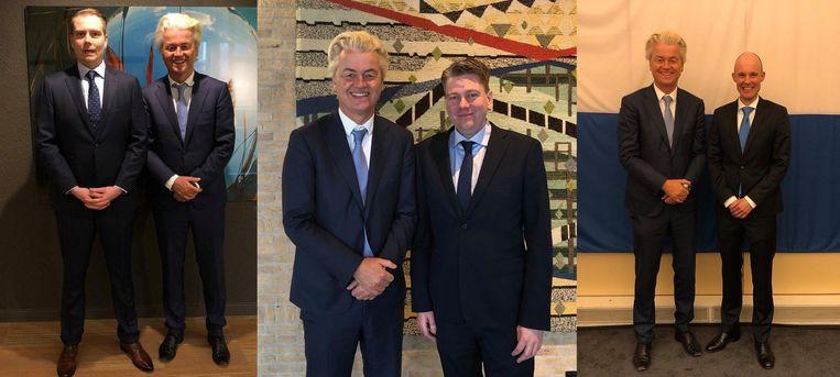 Geert Wilder met Tom Kuilder, Coen Verheij en Maurice Meeuwisen. Al deze kandidaten ondernamen een poging hun interesses in (extreem)rechtse groepen online te verhullen. Beeld null