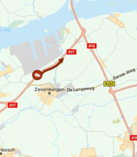 Klein oponthoud op A17 bij Moerdijk door botsende vrachtwagens, bestuurders niet bekneld