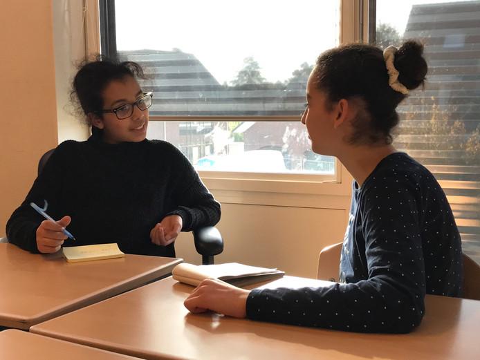 Op openbare basisschool De Walsprong in Zaltbommel geven gastdocenten dit en volgend schooljaar iedere donderdag les. Ze vertellen over hun beroep en doen opdrachten met de kinderen. Het programma begint met journalistiek. Op de foto interviewt Khaola (11) uit groep acht haar klasgenootje Siham (11).