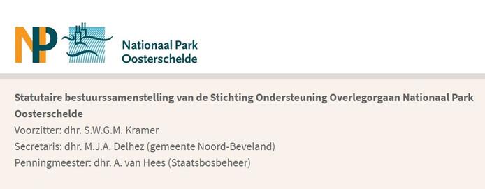 Zo staat het dagelijks bestuur van Nationaal Park Oosterschelde op dit moment nog vermeld op de eigen site.