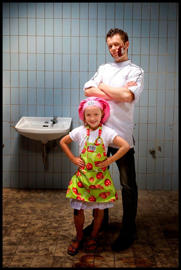 Frédéric Van Quaethem van restaurant Bresca tijdens de actie 'Jong Keukengeweld'.