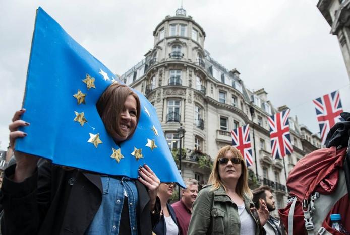 Een Engelse vrouw tijdens een demonstratie zaterdag in Londen tegen de Brexit. foto anp