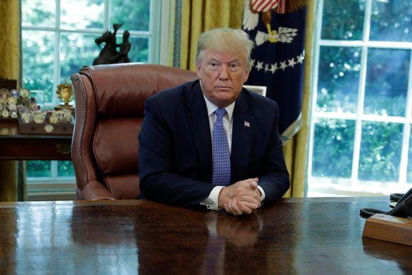 Trump in de Oval Office in het Witte Huis.